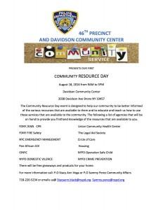 COMMUNITY EVENT FROM OFFICER VEGA